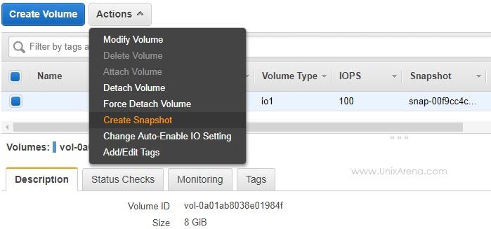 Create EBS volume snapshot - AWS
