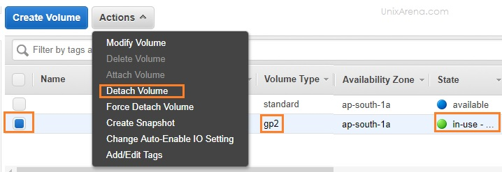 Detach the old volume from Instance