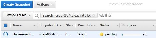 In-progress - Snapshot - EBS