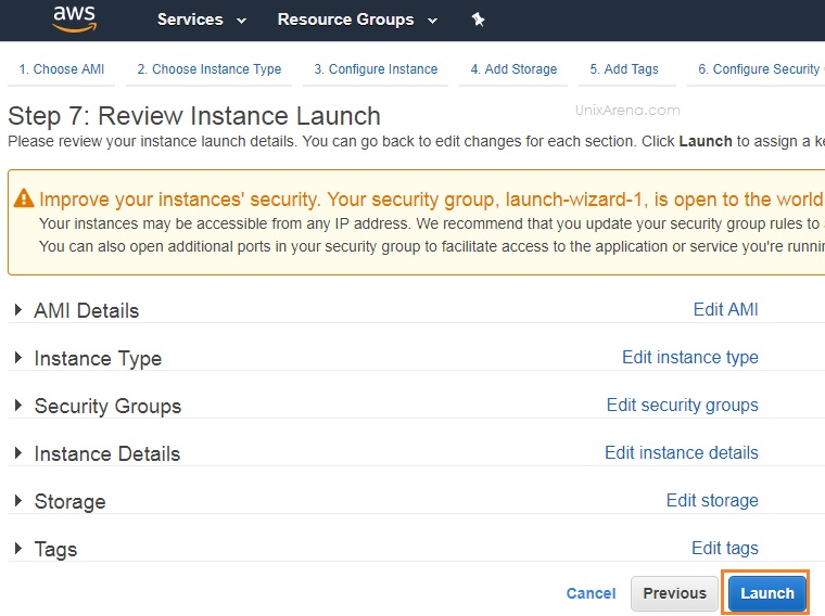 Review Instance Launch - AWS