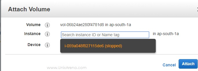 Select the Instance to Attach volume