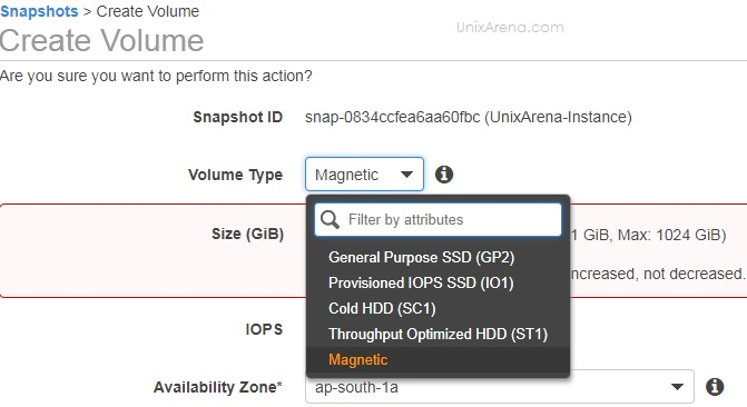 Select the volume type - AWS