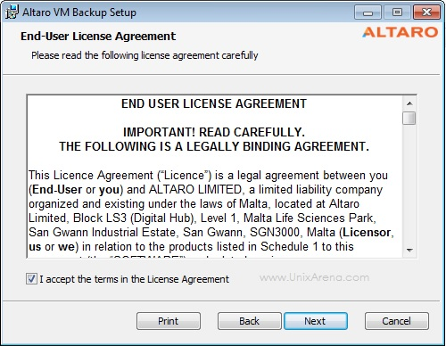 Altaro VM Backup - Accept License