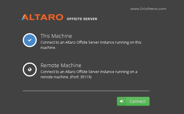 Altaro VM Backup - Connect to an Altaro offsite Server