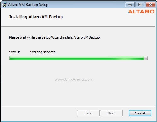 Altaro VM Backup - Starting Services