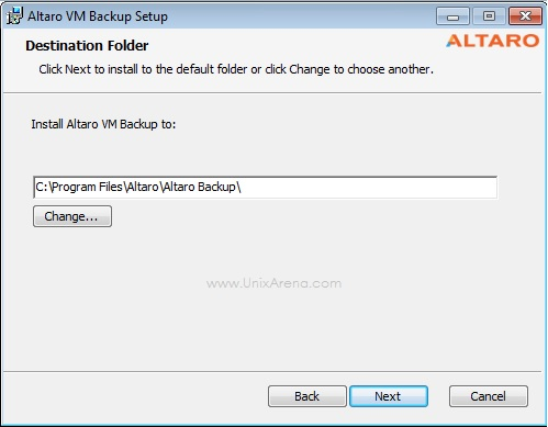 Select the installation directory - Altaro VM Backup