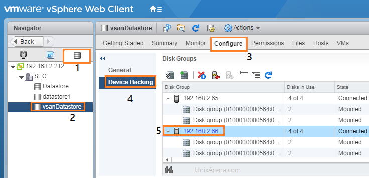 vSAN - Datastore Configure - Device Backing